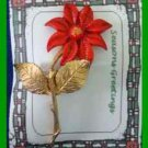 Christmas PIN #0199 Red & Goldtone Poinsettia Virgin Mother Mary HOLIDAY Brooch