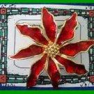 Christmas PIN #0197 Red Enamal & Goldtone Poinsettia wGoldtone Center HOLIDAY XC