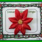 Christmas PIN #0196 VTG Red Enamal Poinsettia w/Goldtone Center~Goldtone Tac Pin