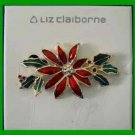 Christmas PIN #0193 Liz Claiborne Poinsettia -Green Enamel Leave Goldtone Brooch