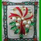 Christmas PIN #0191 Ribbon, Faux Pearls-Holly & Berries Enamel Goldtone Brooch