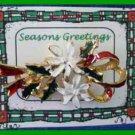 Christmas PIN #0188 Vintage White Poinsettia & Holly Enamel Pin Goldtone