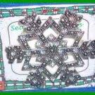 Christmas PIN #0179 Snowflake Marcasite & Crystals Silvertone Holiday Brooch VGC