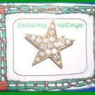 Christmas PIN #0176 Star Rhinestones/Crystals Silvertone Pin (1 inch)