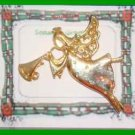 Christmas PIN #0173 Signed AAI ANGEL Flying & Playing Trumpet Goldtone wCrystals