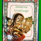 Christmas PIN #0162 Angel-Fairy Playing Harp Goldtone & Enamel VGC