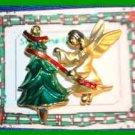 Christmas PIN #0161 VTG Giusti Gigio Goldtone Angel Decorating Green Enamel Tree
