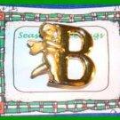 "Christmas PIN #0160 VTG L Razza Cherub Goldtone Monogram ""B"" Pin VGC"
