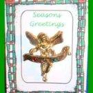 Christmas PIN #0158 Angel JOY Banner Goldtone & CZ's Tac/Lapel Pin VGC
