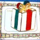 Christmas PIN #0150 Vtg Red-Green-White Gift Package-Bow, Enamel-Goldtone HOLIDY
