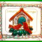 Christmas PIN #0144 Red Cardinals Birdhouse Goldtone-Enamel HOLIDAY Brooch RARE