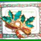 Christmas PIN #0142 VTG Holly & Crystal Berries Enamel Leaves HOLIDAY Brooch VGC