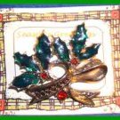 Christmas PIN #0141 LIA VTG Holly & Marcasite w/Crystal Berries HOLIDAY Brooch