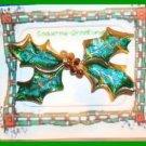 Christmas PIN #0140 VTG Holly Enamel Leaves & Crystals Berries HOLIDAY Brooch