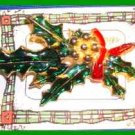 Christmas PIN #0139 Holly Leaves & Berries Enamel HOLIDAY Brooch VGC
