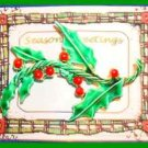 Christmas PIN #0138 Vintage Holly Sprig Green Enamel HOLIDAY VGC