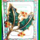 Christmas PIN #0137 Vintage Beatrix Holly Leaves Enamel & Crystals HOLIDAY VGC