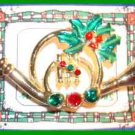 Christmas PIN #0128 Signed AJC Horn Holly & Crystal Goldtone HOLIDAY