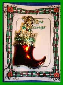 Christmas PIN #0123 Signed Gerrys Red Boot Goldtone with Poodle Like Dog HOLIDAY