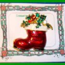 Christmas PIN #0119 Red Stocking Santa Boot Swarovski Rhinestone Goldtone-Enamel