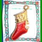Christmas PIN #0117 Signed Gerrys Red Stocking w/Tassel Goldtone HOLIDAY Brooch