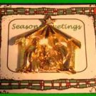 Christmas PIN #0104 Goldtone Manger Scene Tac Pin with Star Rhinestone Accent