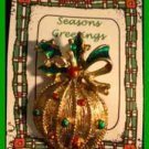 Christmas PIN #0103 Signed Gerrys VTG Christmas Ball Ornament Red-Green Goldtone