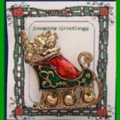 Christmas PIN #0093 VTG Not Signed Sleigh & Dangling JINGLE Bell Goldtone-Enamel