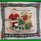 Christmas PIN #0090 Sleigh Goldtone, Red, Green, White Enamel w/removable ear'gs