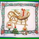 Christmas PIN #0089 Goldtone Sleigh W/Dangl'g Rhinestone Charms-Bell-Tree-Wreath