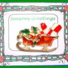 Christmas PIN #0087 Sleigh w/pkgs Goldtone with Red, Green-White Enamel HOLIDAY