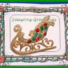 Christmas PIN #0086 Sleigh Goldtone with Red & Green Rhinestones HOLIDAY