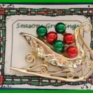 Christmas PIN #0085 Signed Tancer II Sleigh Goldtone & Red & Gren Enamel HOLIDAY