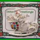 Christmas PIN #0081 Signed DODDS Santa Sleigh White with Rhinestones