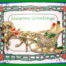 Christmas PIN #0080 Signed Gerrys TopHat Man & Bonnet Lady Sleigh-Horse Goldtone