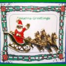 Christmas PIN #0079 VTG Santa Sleigh & Reindeer Goldtone HOLIDAY BROOCH/PIN