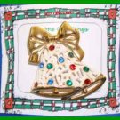Christmas PIN #0076 Double Bells Frosted & Goldtone with Rhinestones HOLIDAY