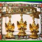 Christmas PIN #0075 LIA Triple Angels FA LA LA LA Goldtone 3 Angel Charm HOLIDAY