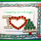 Christmas PIN #0073 I Love Christmas Rhinestone Red-Green-White HOLIDAY Brooch