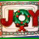 Christmas PIN #0060 JOY Red Enamel with Green  Wreath RED BOW ~Goldtone~