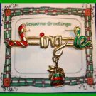 Christmas PIN #0052 VTG Not Signed JINGLE Goldtone & Enamel Bell Dangl'g HOLIDAY