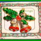 Christmas PIN #0048 Double Bells Goldtone & Red w/Green Enamel Holly ~Goldtone~
