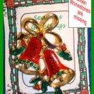 Christmas PIN #0046 Double Bells Red Enamel Green Rhinestones & Grn Enamel Holly