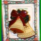 Christmas PIN #0041 Double Bells Red Green Cream Enamel R.O.C. Taiwan ~Goldtone~