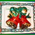 Christmas PIN #0040 Bells Goldtone & Red with Green Ribbon Enamel ~Goldtone~ VGC