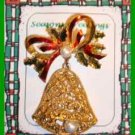 Christmas PIN #0038 Bell Goldtone Enamel Red Bow & Enamel Holly w/Pearl Accents