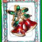 Christmas PIN #0033 VTG Double Bell Red & Green Enamel Holly ~Goldtone~ HOLIDAY