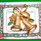 Christmas PIN #0029 1960's Double Bells Goldtone & Green Enamel Holly HOLIDAY