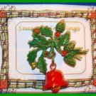 Christmas PIN #0008 VTG Not Signed Bell-Holly-Pinecones ~Goldtone HOLIDAY Brooch
