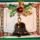 Christmas PIN #0004 VTG Bell ~ Holly Leaves & Berries ~ Goldtone HOLIDAY Brooch